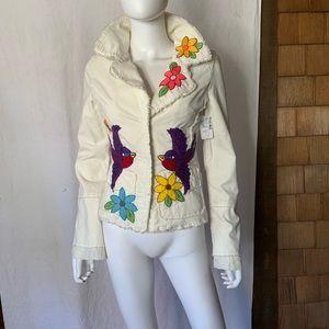 NWT JOYSTICK amazing one of a kind flower embroidered corduroy denim jacket